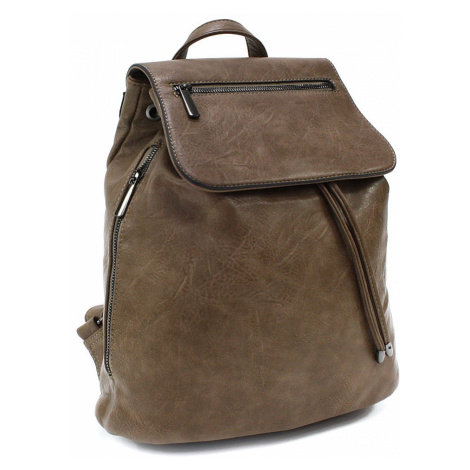 Šedohnědý stylový dámský klopnový batoh Jazlynn Cyntia-Calamio (PL)