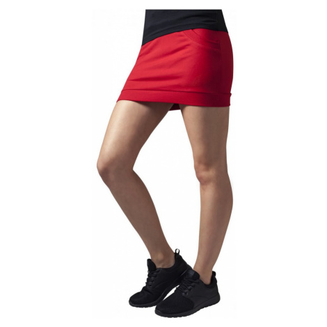 Ladies French Terry Skirt - red Urban Classics