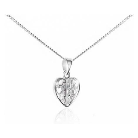 Náhrdelník ze stříbra 925 - řetízek a přívěsek, vyřezávané srdce Šperky eshop