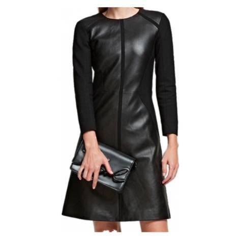 Černé šaty z jehněčí kůže - KARL LAGERFELD