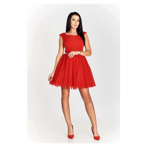 Koktejlové šaty CINDY na široká ramínka s tylovou sukní