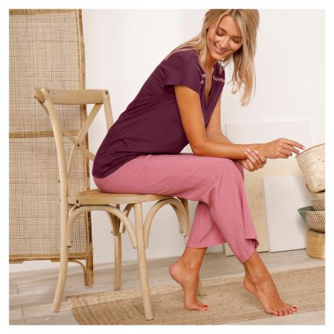 Blancheporte Pyžamové široké kalhoty, jednobarevné šedorůžová