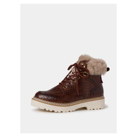 Tamaris hnědé kotníkové zimní boty s kožíškem
