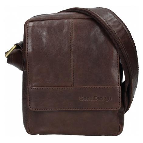 Pánská kožená taška přes rameno SendiDesign Petrson - tmavě hnědá Sendi Design