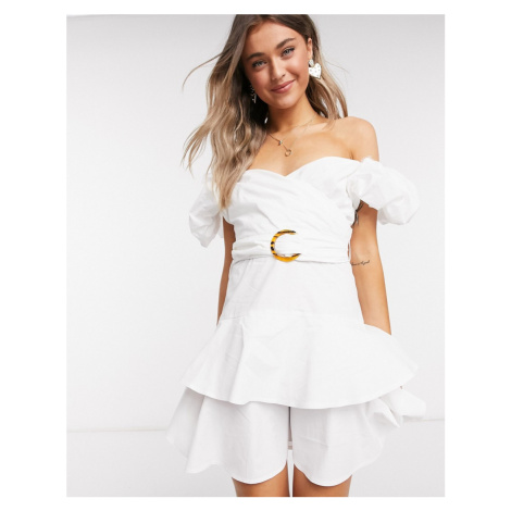 Outrageous Fortune puff sleeve wrap over ruffle mini dress in white