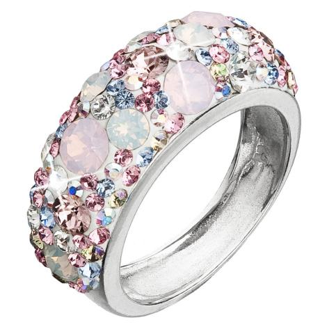 Evolution Group Stříbrný prsten s krystaly Swarovski růžový 35031.3