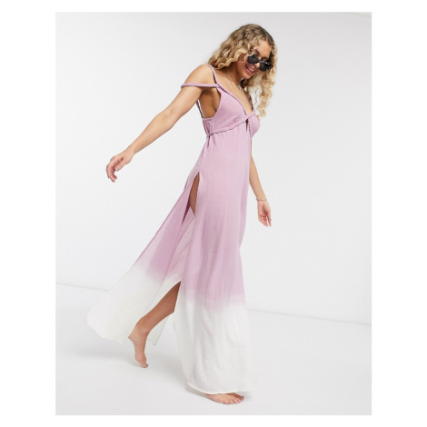 ASOS DESIGN plait maxi beach dress in textured pink ombre