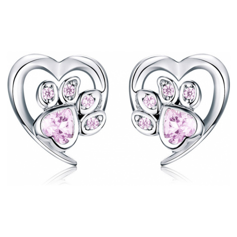 Linda's Jewelry Stříbrné náušnice Pecky Love Pets Pink Ag 925/1000 IN153