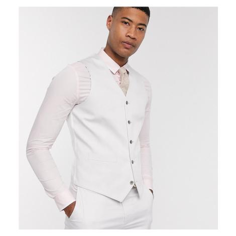 ASOS DESIGN Tall wedding slim suit waistcoat in light grey stretch cotton