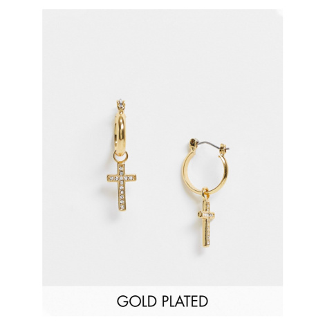 ASOS DESIGN 12mm hoops earrings with crosses and Swarovski crystals in 14k gold plate