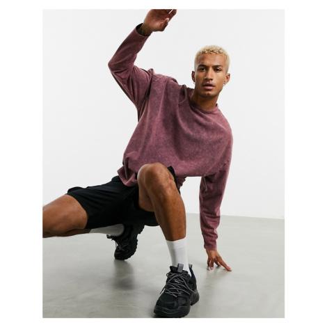 ASOS DESIGN oversized long sleeve t-shirt with half sleeve in heavyweight acid wash-Brown