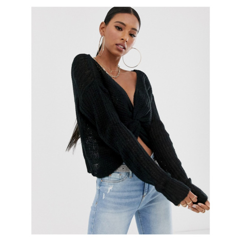 Missguided jumper with twist front in black