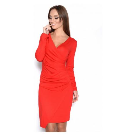 Řasené šaty s dlouhým rukávem a efektem sukně barva červená
