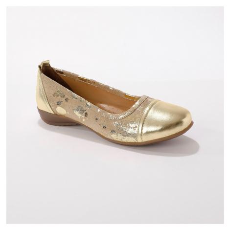 Blancheporte Kožené baleríny, béžové/zlaté béžová/zlatá