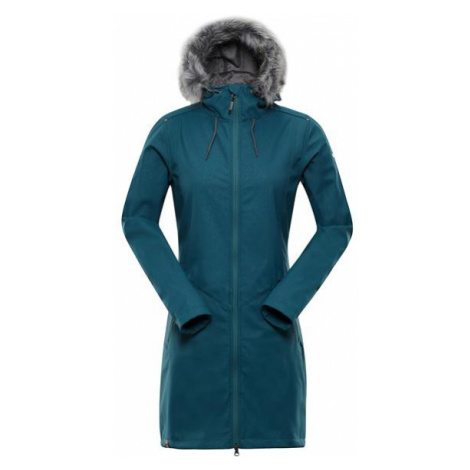 ALPINE PRO Priscilla 4 Ins. Zelená / Tyrkysově Zelená Dámský Softshellový Kabát LCTP100599