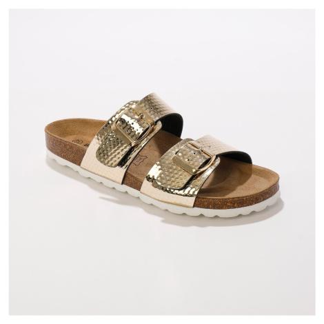Blancheporte Pantofle s 2 pásky a sponami zlatá
