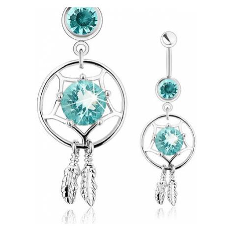 Piercing z oceli 316L, lapač snů, světle modrý zirkon, dvě gravírovaná pírka Šperky eshop