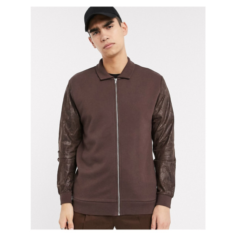 ASOS DESIGN jersey harrington jacket in brown with faux snakeskin sleeves