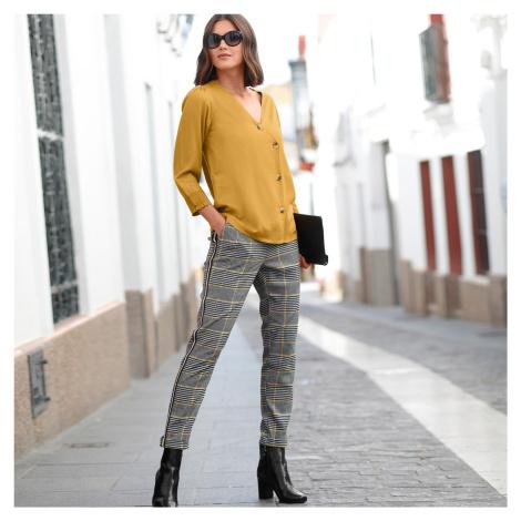 Blancheporte Kostkované kalhoty s kontrastními lampasy černá/hořčicová