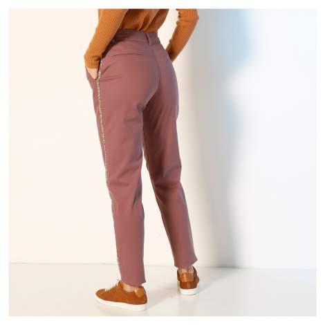 Blancheporte Chino kalhoty, třpytivé lampasy purpurová