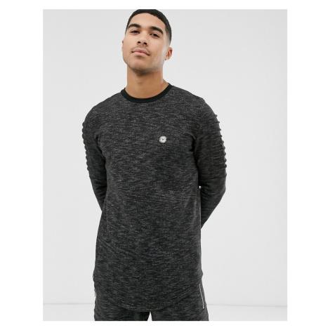 Le Breve ribbed arm crew neck sweatshirt-Black