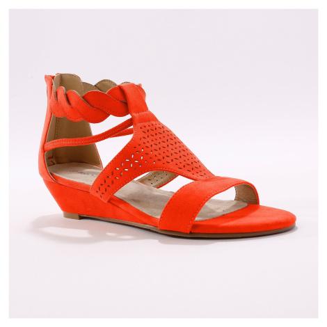 Blancheporte Perforované sandály se splétaným páskem červená