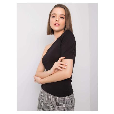 RUE PARIS Black blouse with one shoulder Fashionhunters
