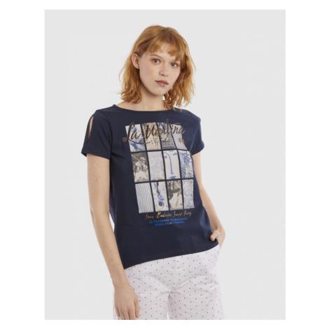 Tričko La Martina Woman Jersey Tshirt S/S - Modrá