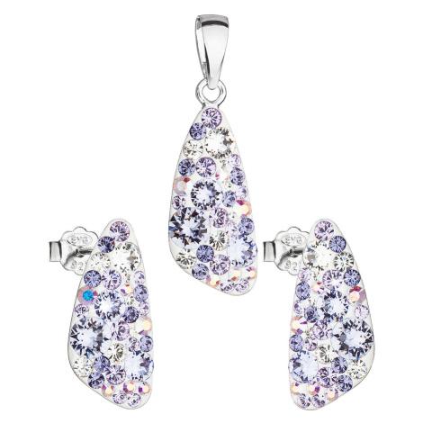 Evolution Group Sada šperků s krystaly Swarovski náušnice a přívěsek fialový 39167.3 violet