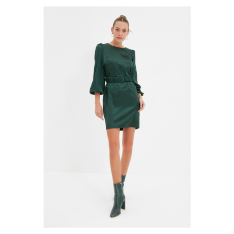 Trendyol Green Belted Satin Dress