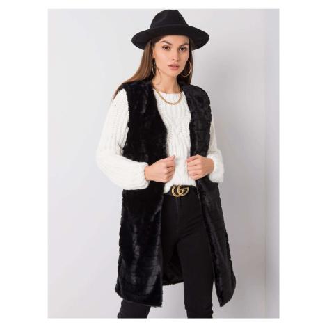 Černá dámská dlouhá teddy vesta TW-KZ-2114-1.07P-black BASIC