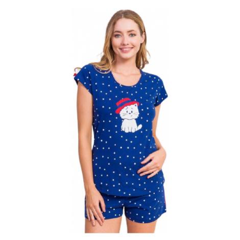Dámské pyžamo šortky Vienetta Secret Kotě s kloboukem   tmavě modrá