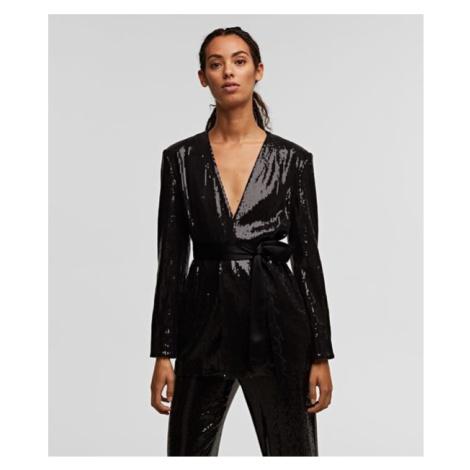 Sako Karl Lagerfeld Sequins Jacket W/ Belt - Černá
