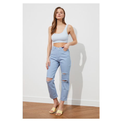 Trendyol Blue Ripped Detailed High Waist Straight Jeans