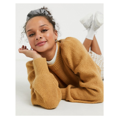 Monki Qamelia knitted jumper with volume sleeve in beige