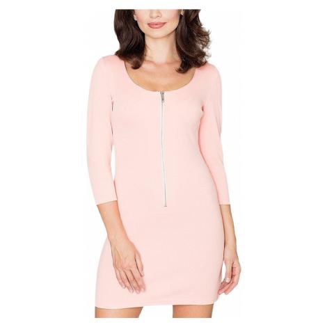 Růžové mini šaty se zipem Katrus