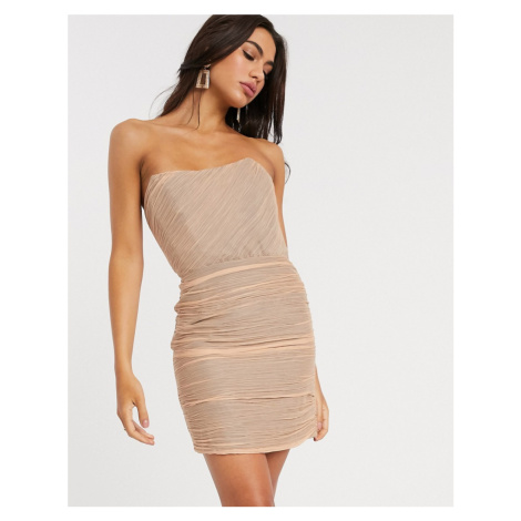 ASOS DESIGN ruched bandeau mini dress-Pink