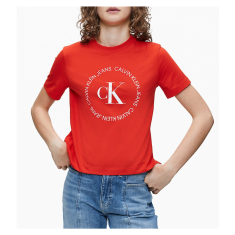 Calvin Klein Calvin Klein dámské červené tričko ROUND LOGO STRAIGHT TEE