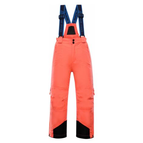 ALPINE PRO NUDDO 4 Dětské lyžařské kalhoty KPAP167341 Neon coral