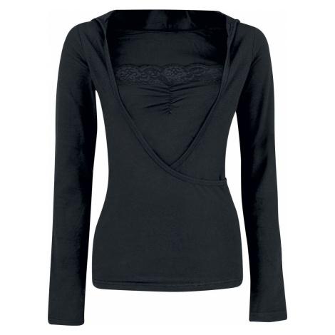 Fashion Victim Mikina s krajkou a kapucí Dámské tričko s kapucí a dlouhým rukávem černá