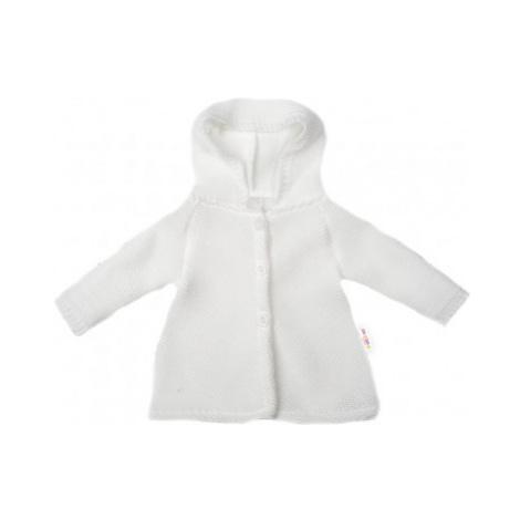 Baby Nellys Kojenecký svetřík s kapucí, áčkový střih - bílý, vel.