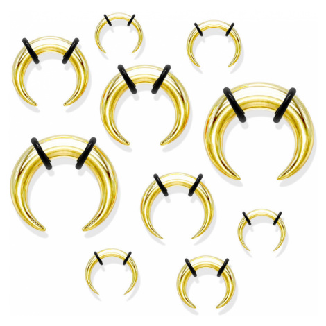 Ocelový piercing do ucha ve stylu buffalo, zlatá barva, černé gumičky - Tloušťka : 8 mm Šperky eshop