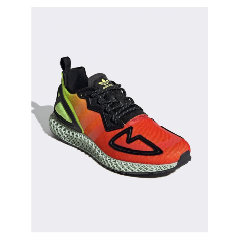 Adidas Originals ZX 4D trainers in red and yellow