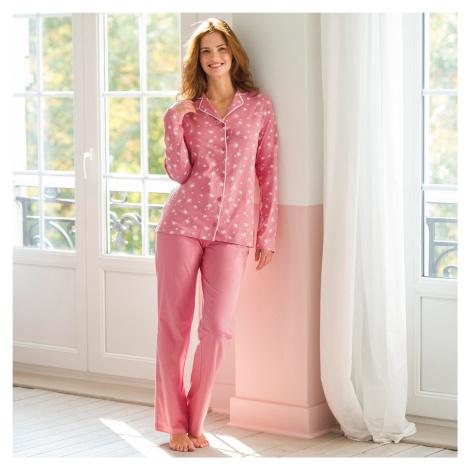 Blancheporte Bavlněné pyžamo s kostýmkovým límečkem, potisk růžová/bílá