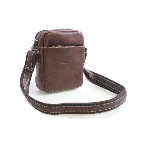 Hexagona Hnědá luxusní kožená taška na doklady 123477 Hnědá