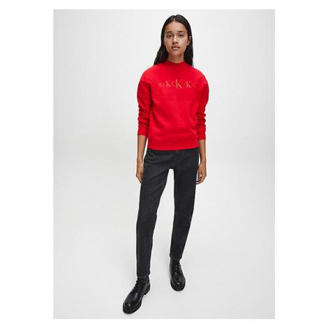 Calvin Klein Calvin Klein dámská červená mikina RECYCLED COTTON BLEND SWEATSHIRT