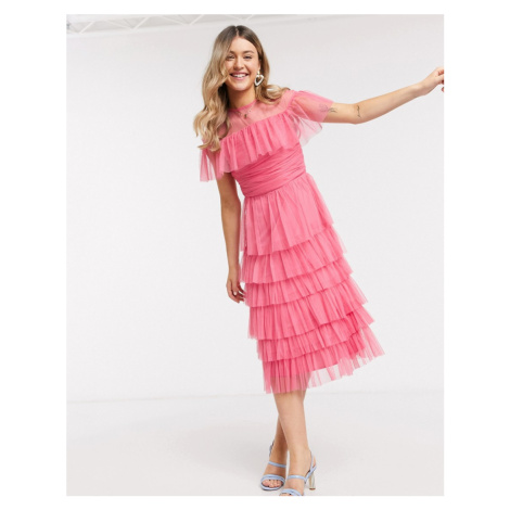 Anaya With Love mesh top tiered ruffle midi dress in pink