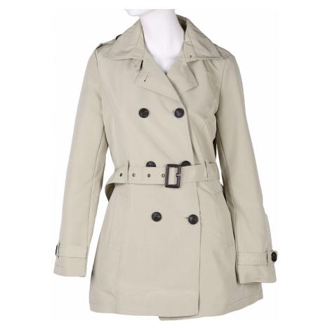 Béžový dámský jarní tříčtvrteční kabát na knoflíky Baťa