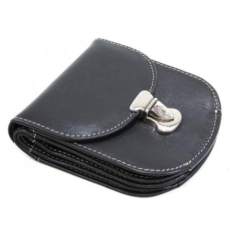 Černá dámská malá kožená prošívaná peněženka se zámečkem Clariens Arwel