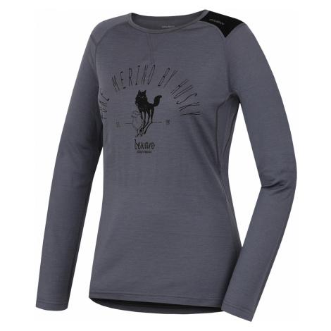Merino thermal underwear T-shirt long women's Sheep gray Husky